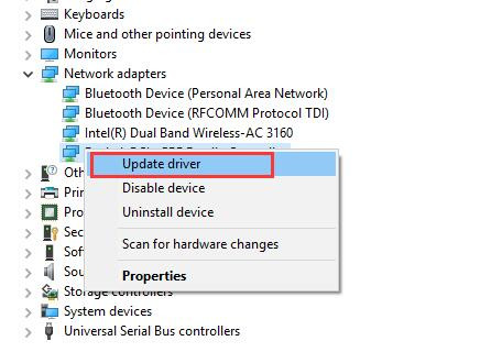 update intel network driver
