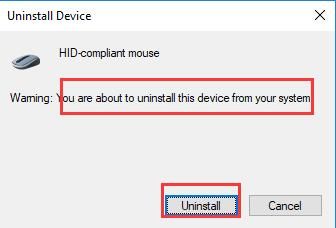 confirm uninstall hid compliant mouse