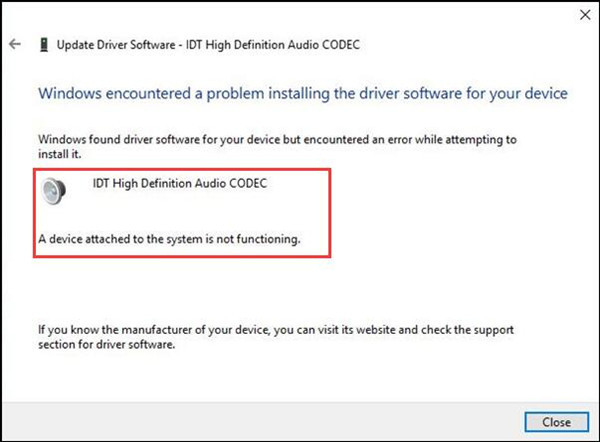 audio driver not running