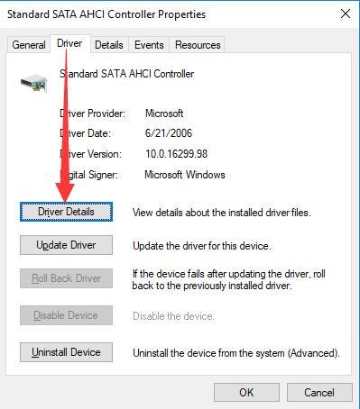 ahci controller driver details