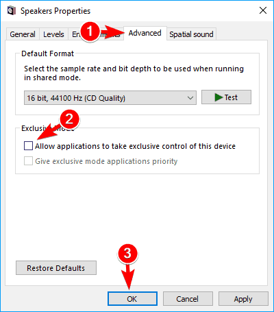 allow applications to take exclusive control