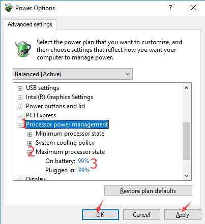 how to change processor settings