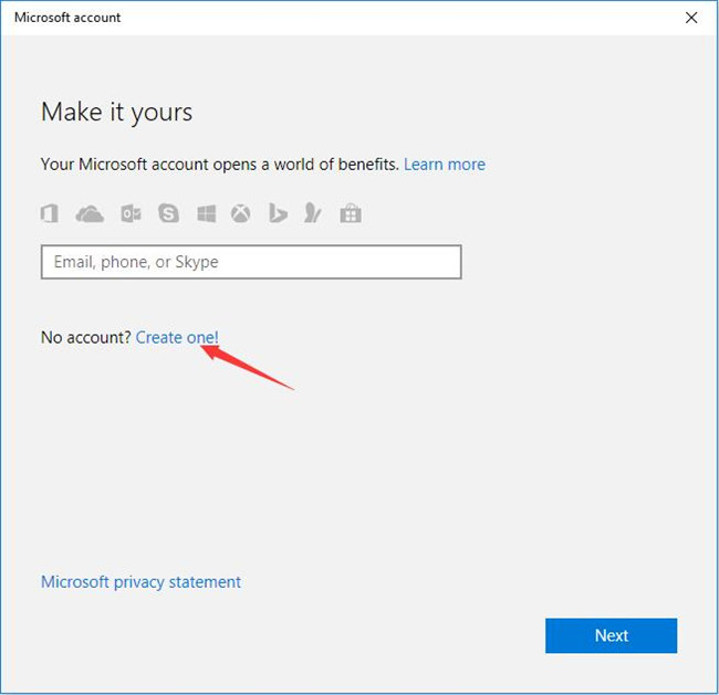 then you would see lets create your account on another screen which means you are enabled to get your microsoft account here