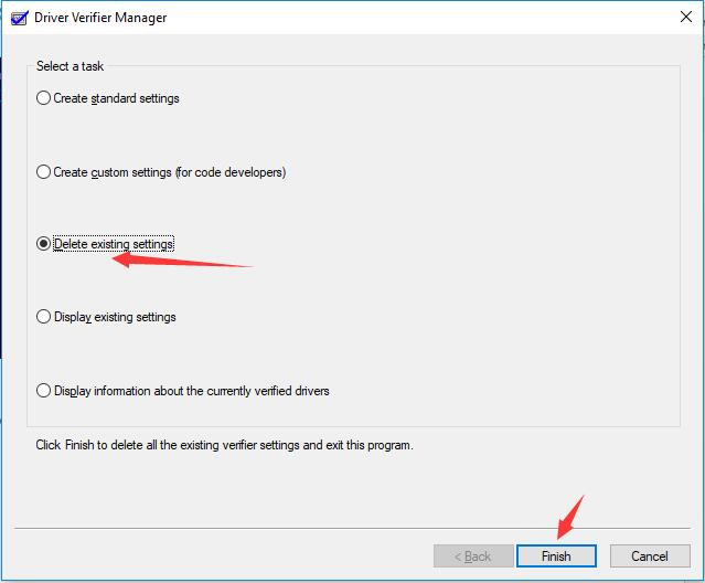 delete existing settings