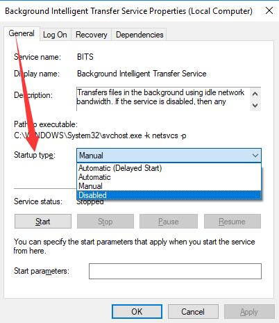 disable background intelligent transfer service