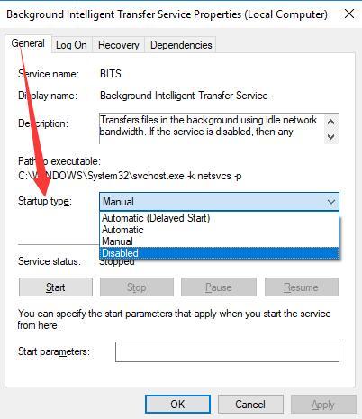 disable background intelligent transfer service