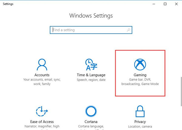 gaming in windows settings