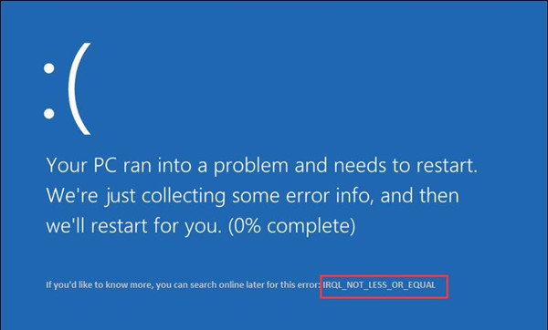 irql not less or equal bsod