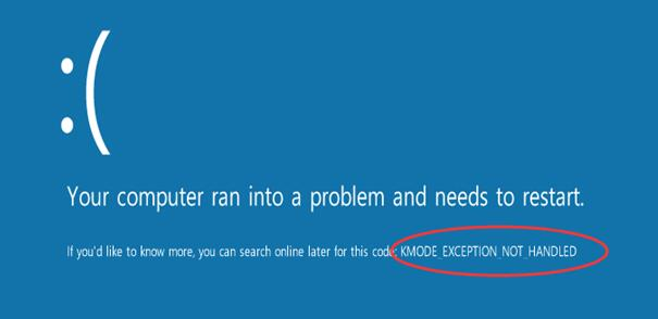 kmode exception not handled windows 10