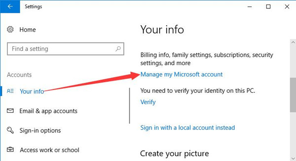 manage my microsoft account