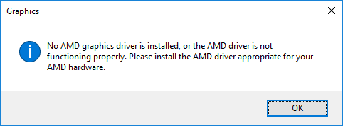 no amd graphic driver is installed on windows 10