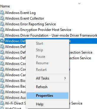 windows defender properties