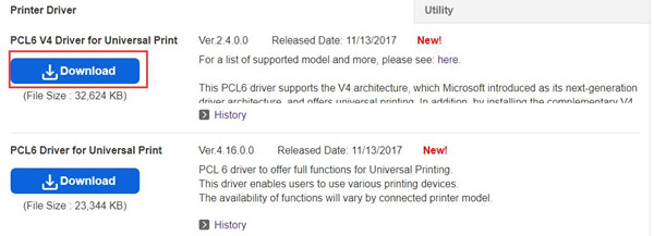 select pcl6 v4 driver and download