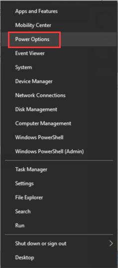 start menu power options