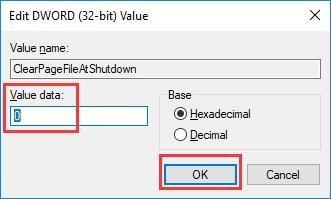 type clear page file at shut down value data