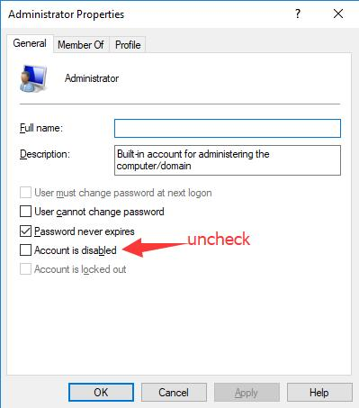 uncheck account is disabled