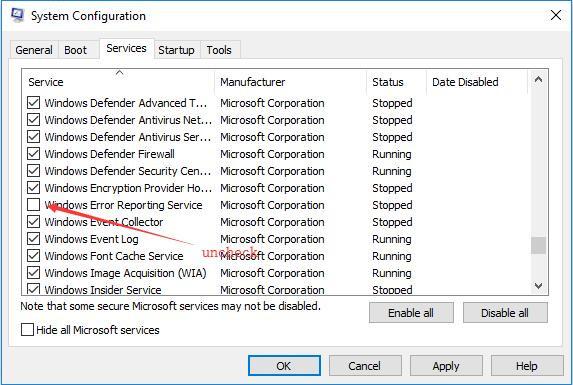 uncheck windows error reporting service