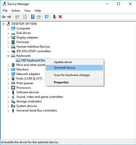 uninstall hid keyboard device driver