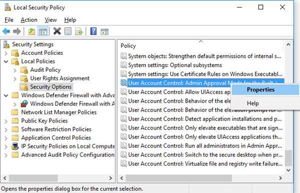 user account administrator properties