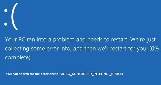 video scheduler internal eror