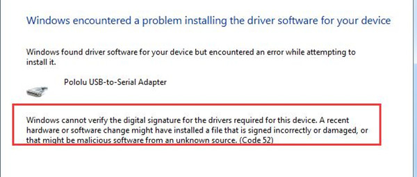 windows cannot verify the digital signature