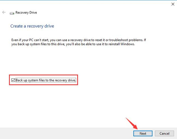backup system files to the recovery drive