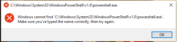 cannot find powershell.exe