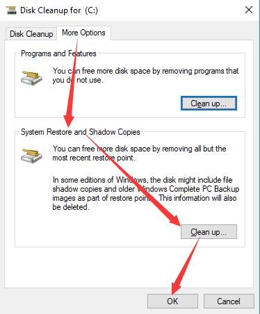 cleanup system files andd shadow copies