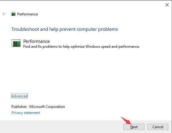click next for performance troubleshooting
