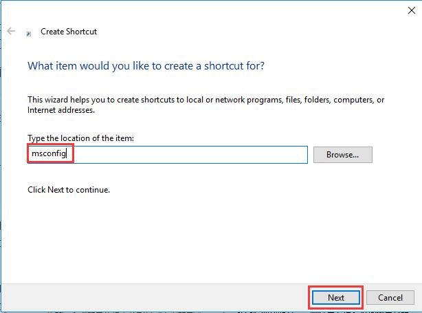 create msconfig shortcut