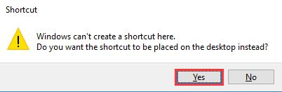 create shortcut on desktop
