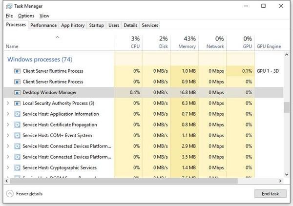 desktop window manager high cpu windows 10