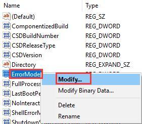 error mode modify