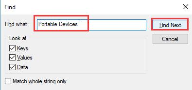 find registry portable device