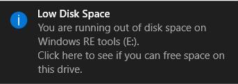 low disk space warning windows 10