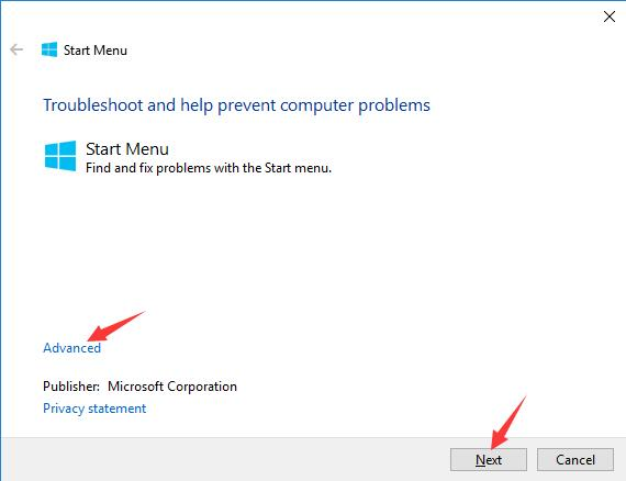 microsoft start menu troubleshooter