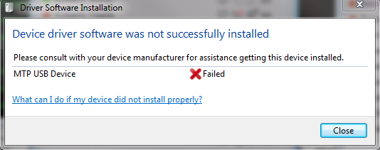 mtp usb device failed installation