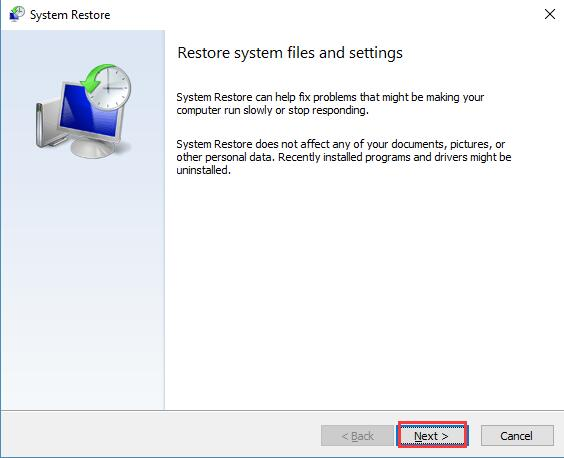 next restore system files and settings