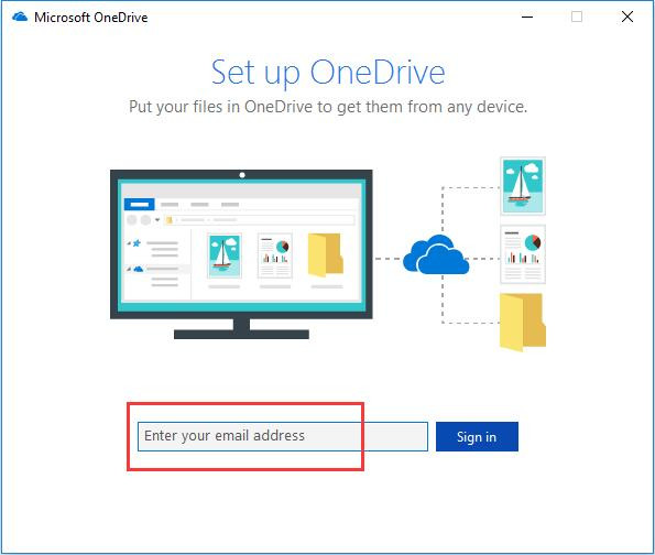 onedrive enter email address
