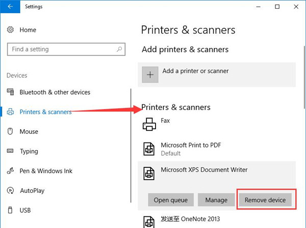 remove device under printer and scanner