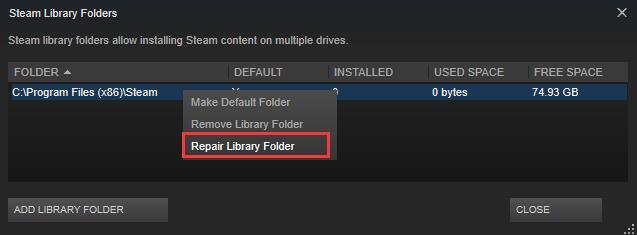 repair library folder