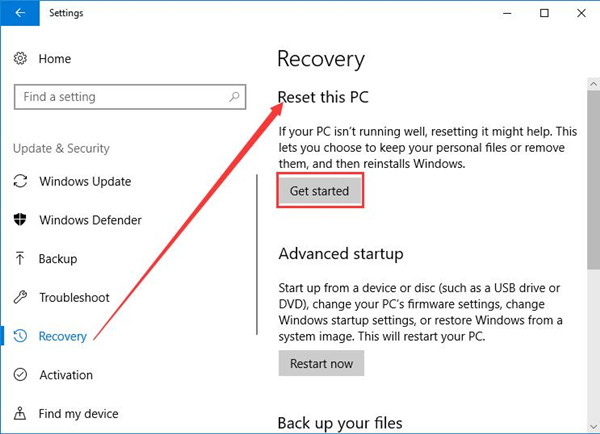 reset this pc in update & security