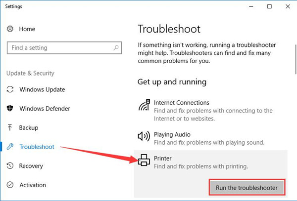 run printer troubleshooter