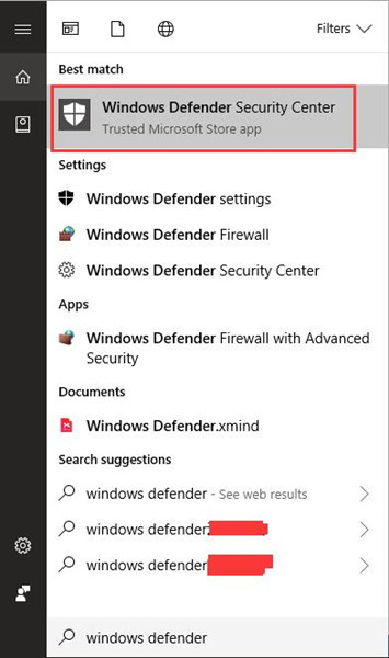 search windows defender