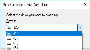 select the drive you want to clean up