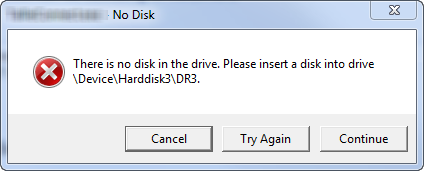 there is no disk in the drive