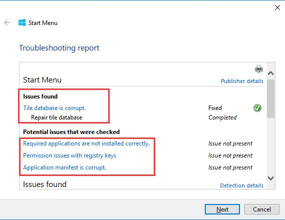 start menu troubleshooting report from microsoft