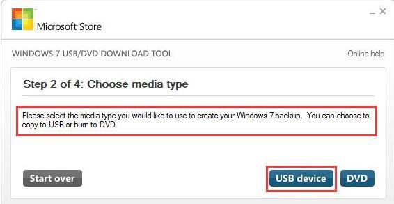 choose usb drive media type