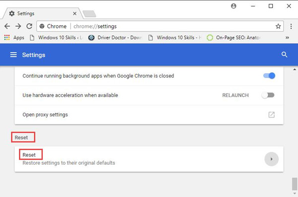 google chrome advanced reset