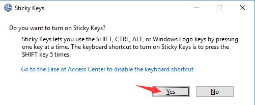 click yes in sticky keys